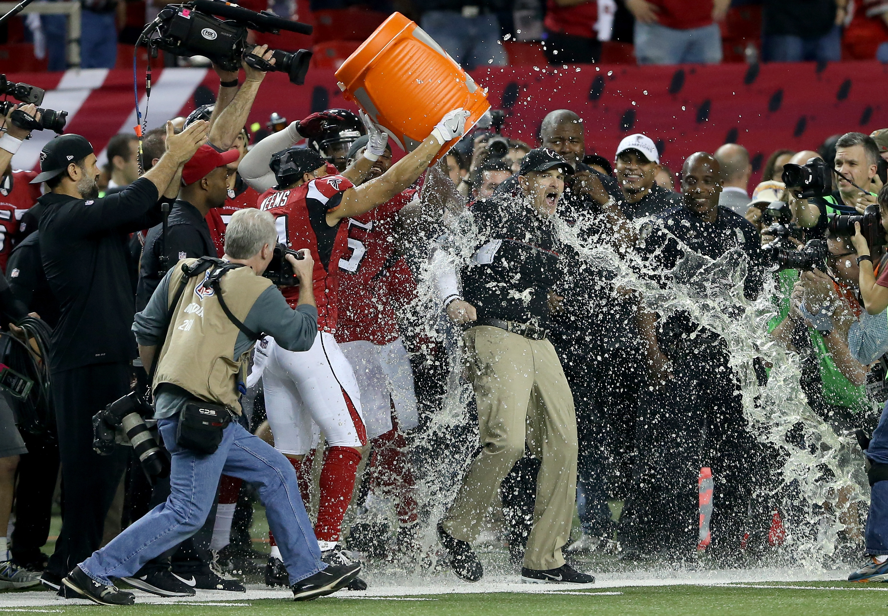Can the Atlanta Falcons repeat this scene from their NFC Championship Game victory over the Green Bay Packers? (Getty Images)