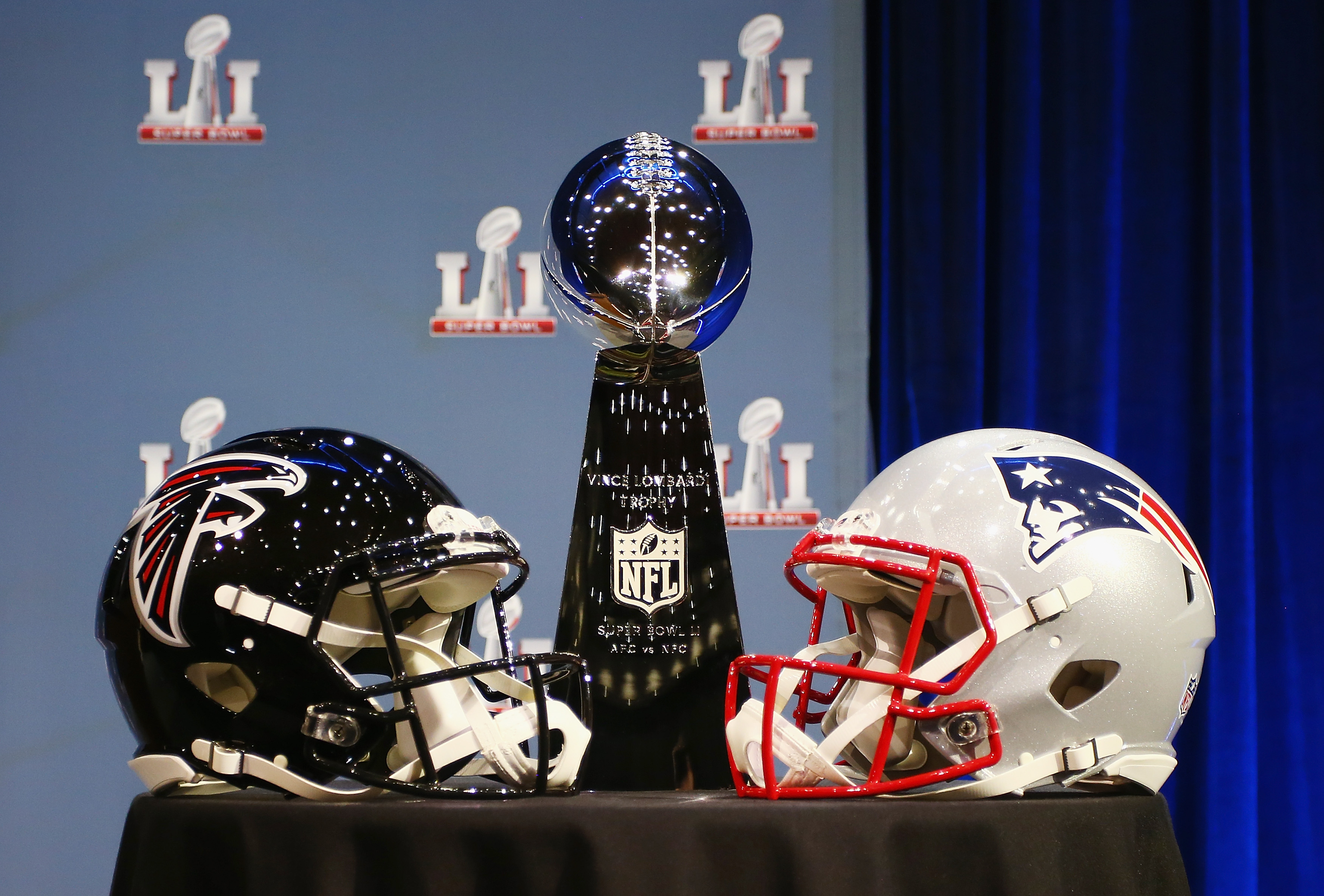 The Vince Lombardi Trophy will go to the winner of Super Bowl LI between the Falcons and Patriots. (Photo by Tim Bradbury/Getty Images)