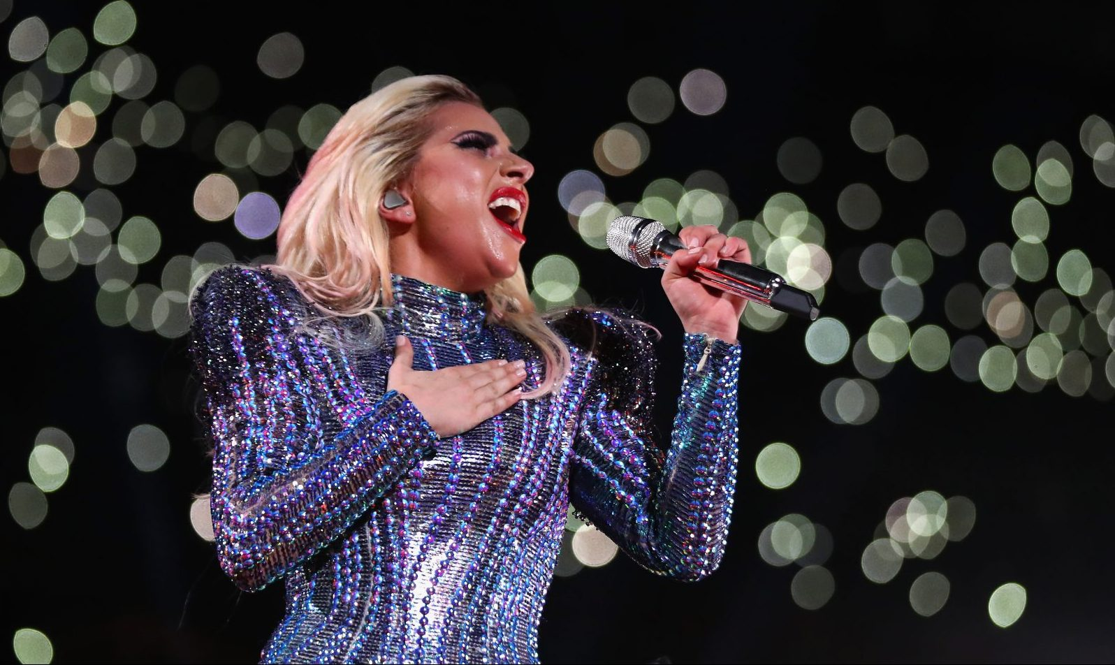 Lady Gaga performs during the Pepsi Zero Sugar Super Bowl 51 Halftime Show at NRG Stadium in Houston. (Getty Images)