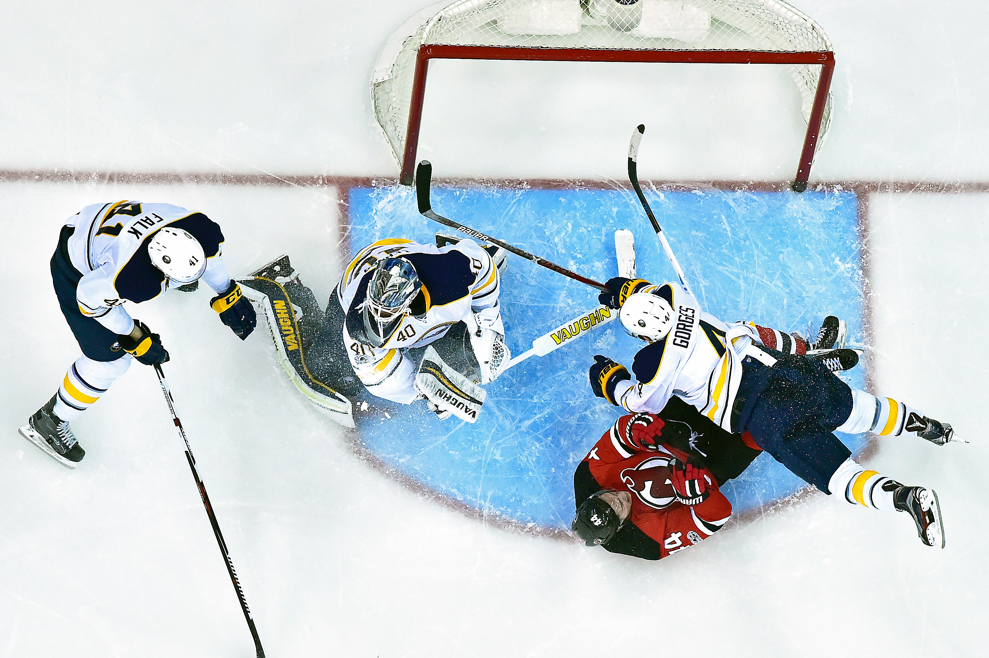 When the Sabres go off script, things look chaotic near the net and elsewhere. (Getty Images)