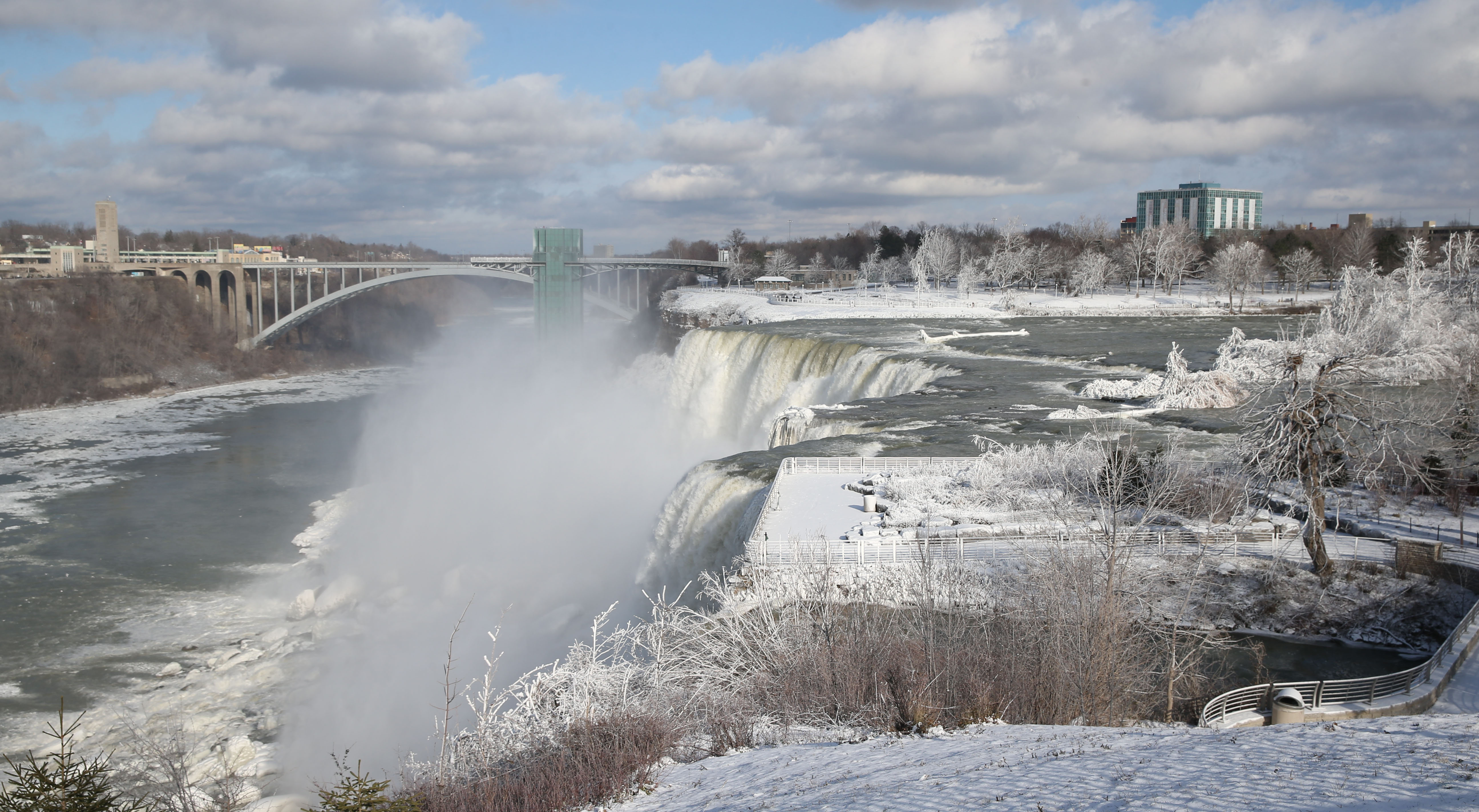 Niagara Falls in winter is a spectacular sight. This view of the American Falls and Bridal Veil Falls was taken from Goat Island (Sharon Cantillon / Buffalo News)