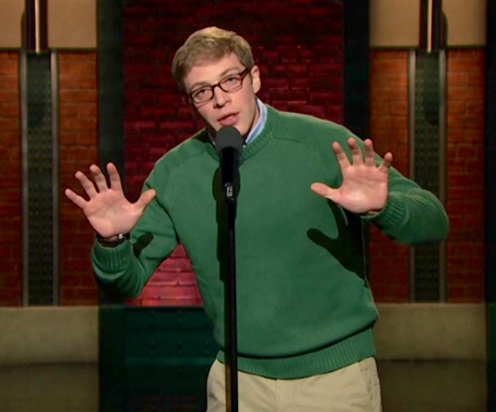 Buffalo native Joe Pera, seen here performing on 'Late Night with Seth Meyers,'  returns home for a show at the 9th Ward @ Babeville. (NBC)