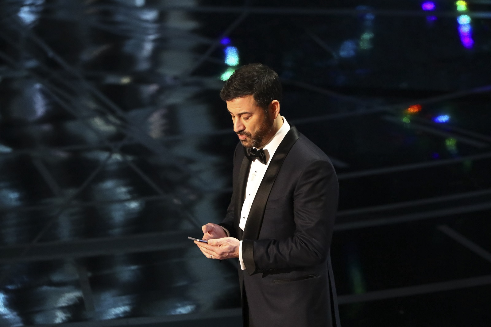 Jimmy Kimmel, here during last year's Academy Awards telecast, weighed in on whether Oprah Winfrey should run for president.  (Patrick T. Fallon/New York Times file photo)