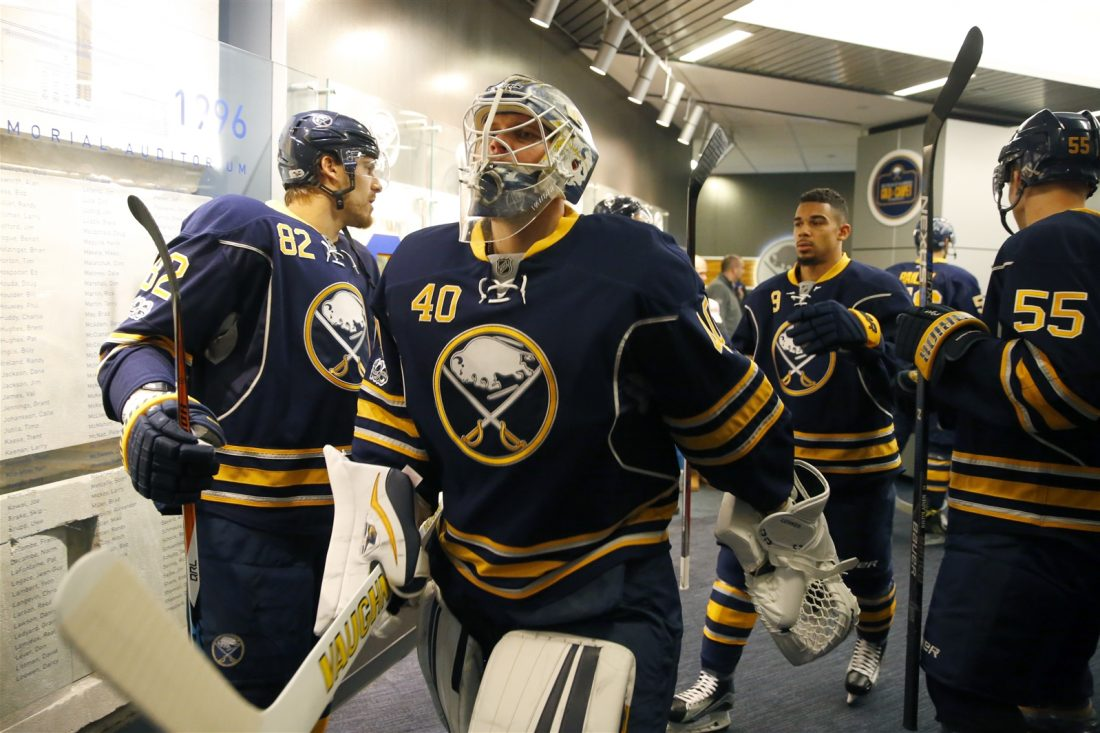 Robin Lehner didn't lead the Sabres on the ice Sunday in Arizona (Harry Scull Jr./Buffalo News).