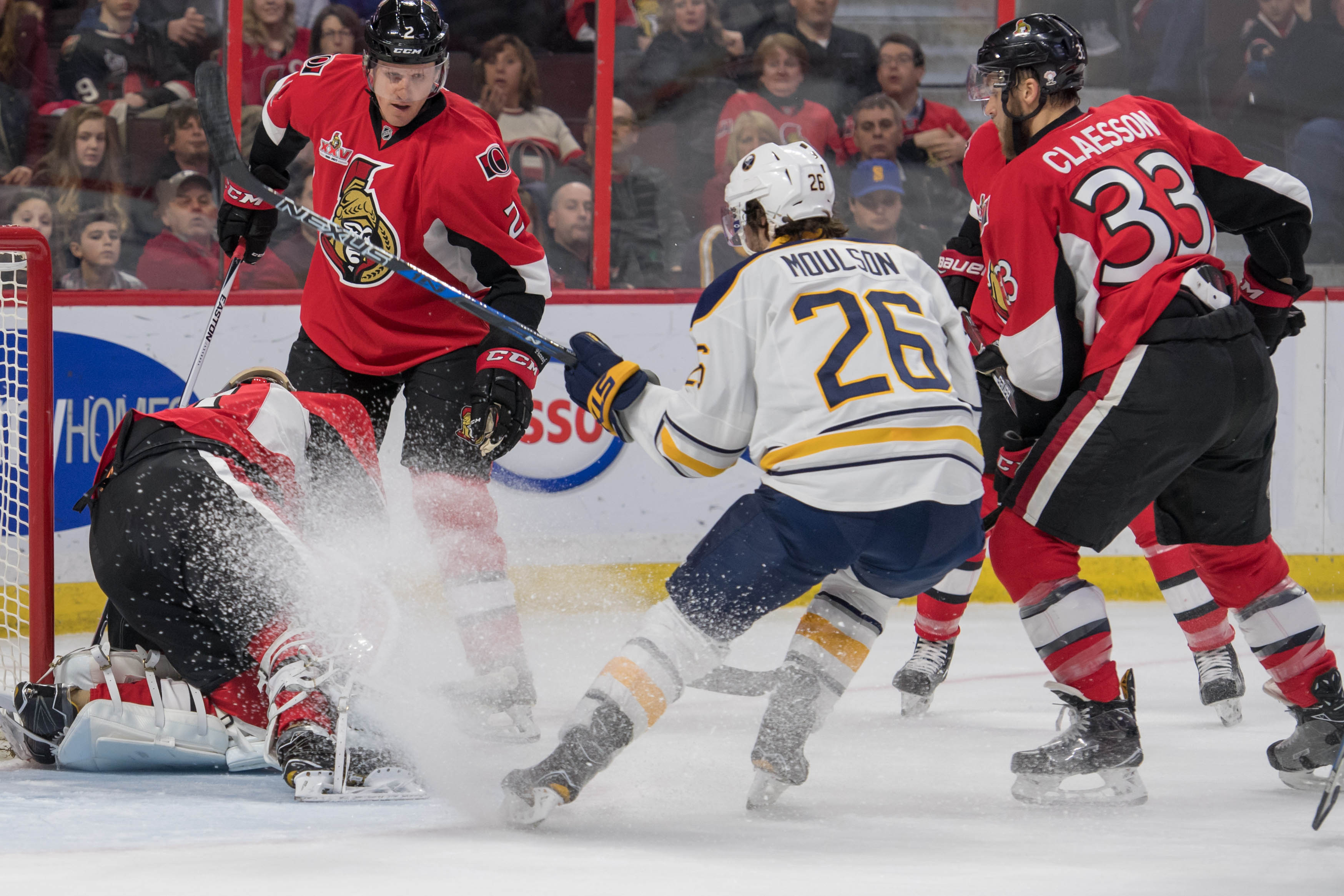 Sabres winger Matt Moulson charges the net as Ottawa goalie Craig Anderson in the first period. (Marc DesRosiers-USA TODAY Sports).