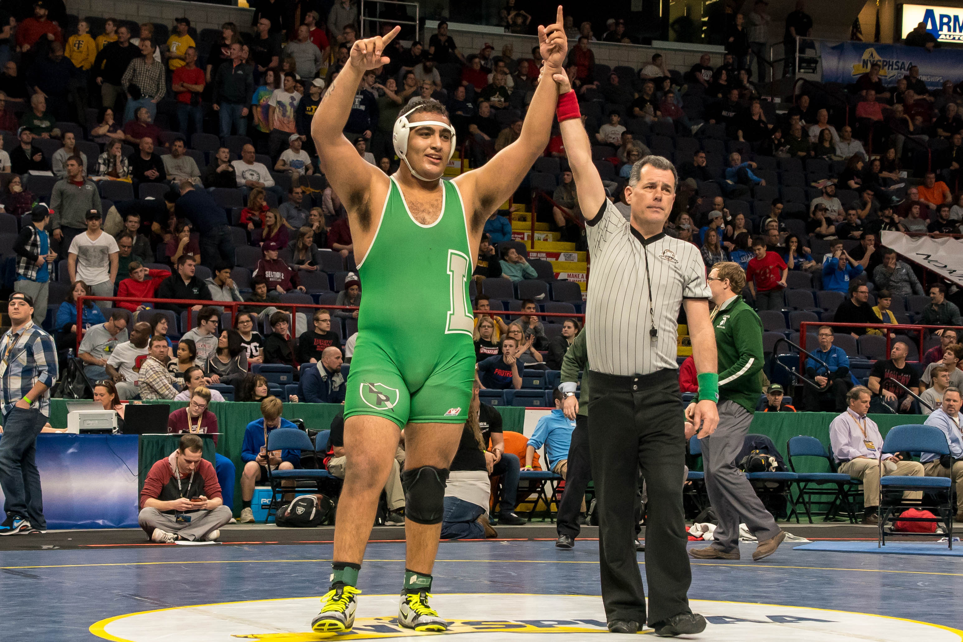 Laith Alsous from Lewiston-Porter won in the Division II 285-pound class at the New York State Wrestling Championships. (Photo courtesy of Bob Koshinski)