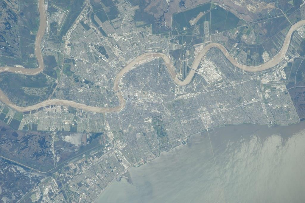The Mississippi River meanders through New Orleans, while Lake Pontchartrain sits at lower right, in this photo taken from the International Space Station in 2014. (NASA file photo)