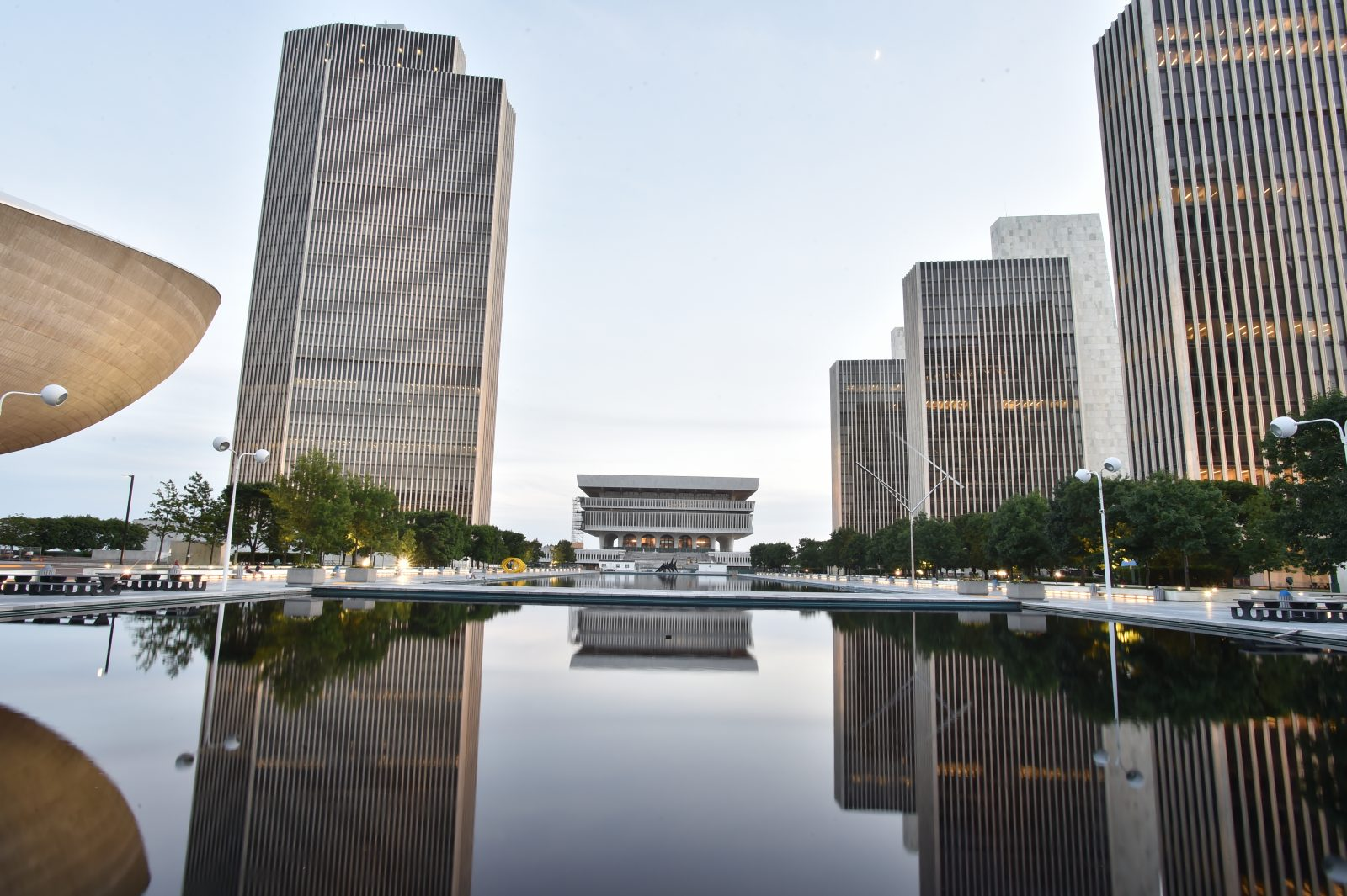 The Empire State Plaza at sunset on the first full day of summer June 22, 2015. (Office of the Governor - Kevin P. Coughlin)