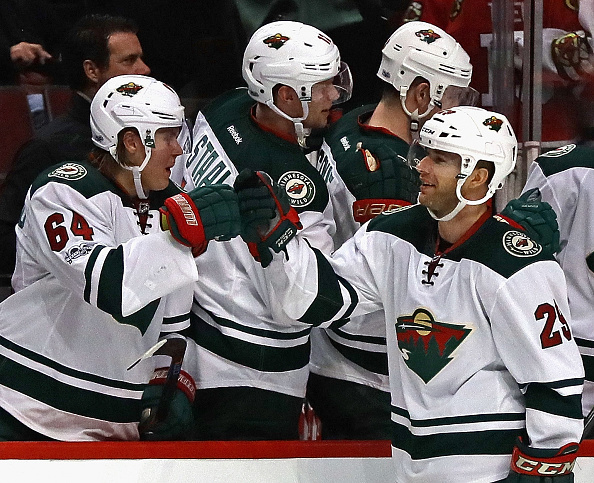 Jason Pominville, right, has been getting plaudits from Minnesota teammates all year (Getty Images).