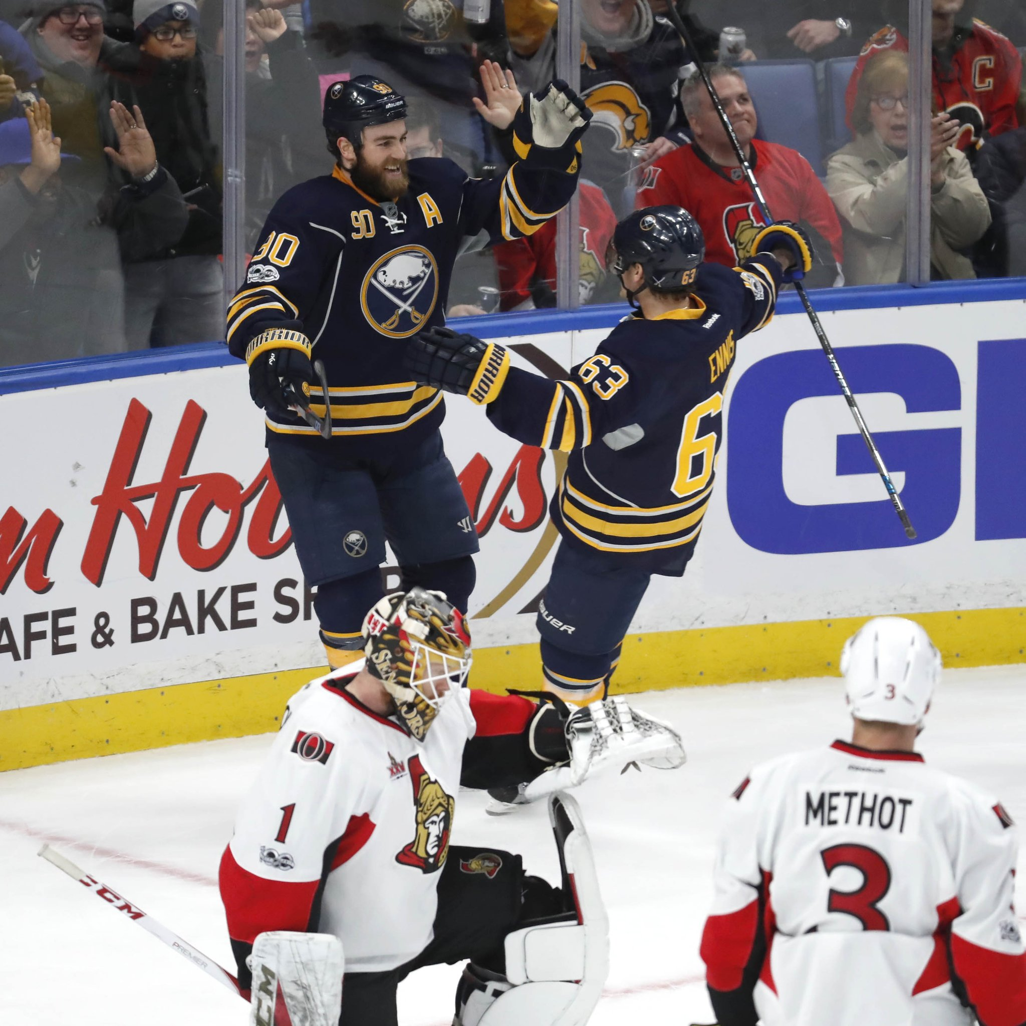Ryan O'Reilly and Tyler Ennis (63) know the Sabres need to be consistent. (Harry Scull Jr./Buffalo News)