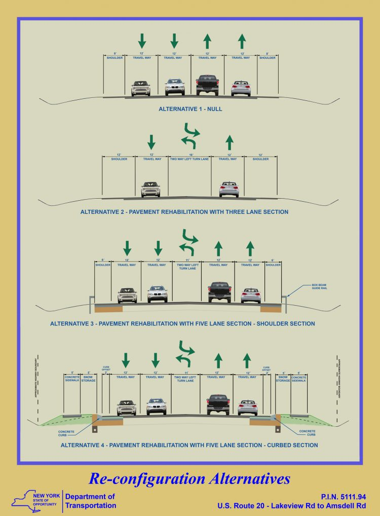Alternative 2, with three lanes, is the preferred option of the state Department of Transportation. (Courtesy state Department of Transportation)