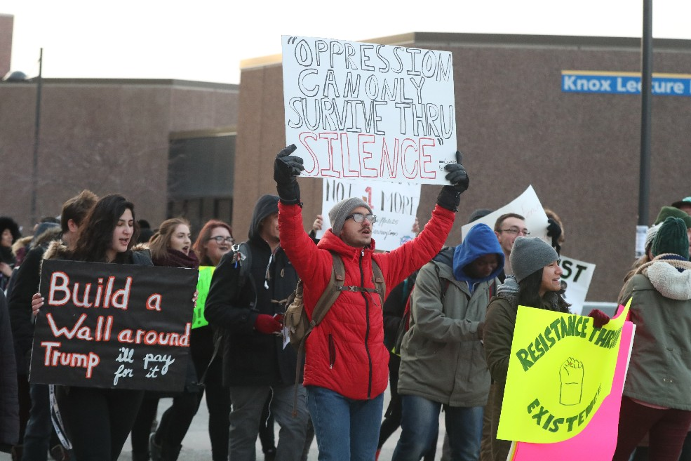 University at Buffalo students march on campus Feb. 3 to protest President Trump's order banning travel into the U.S. by refugees and citizens of seven Muslim majority countries. (James P. McCoy/Buffalo News)