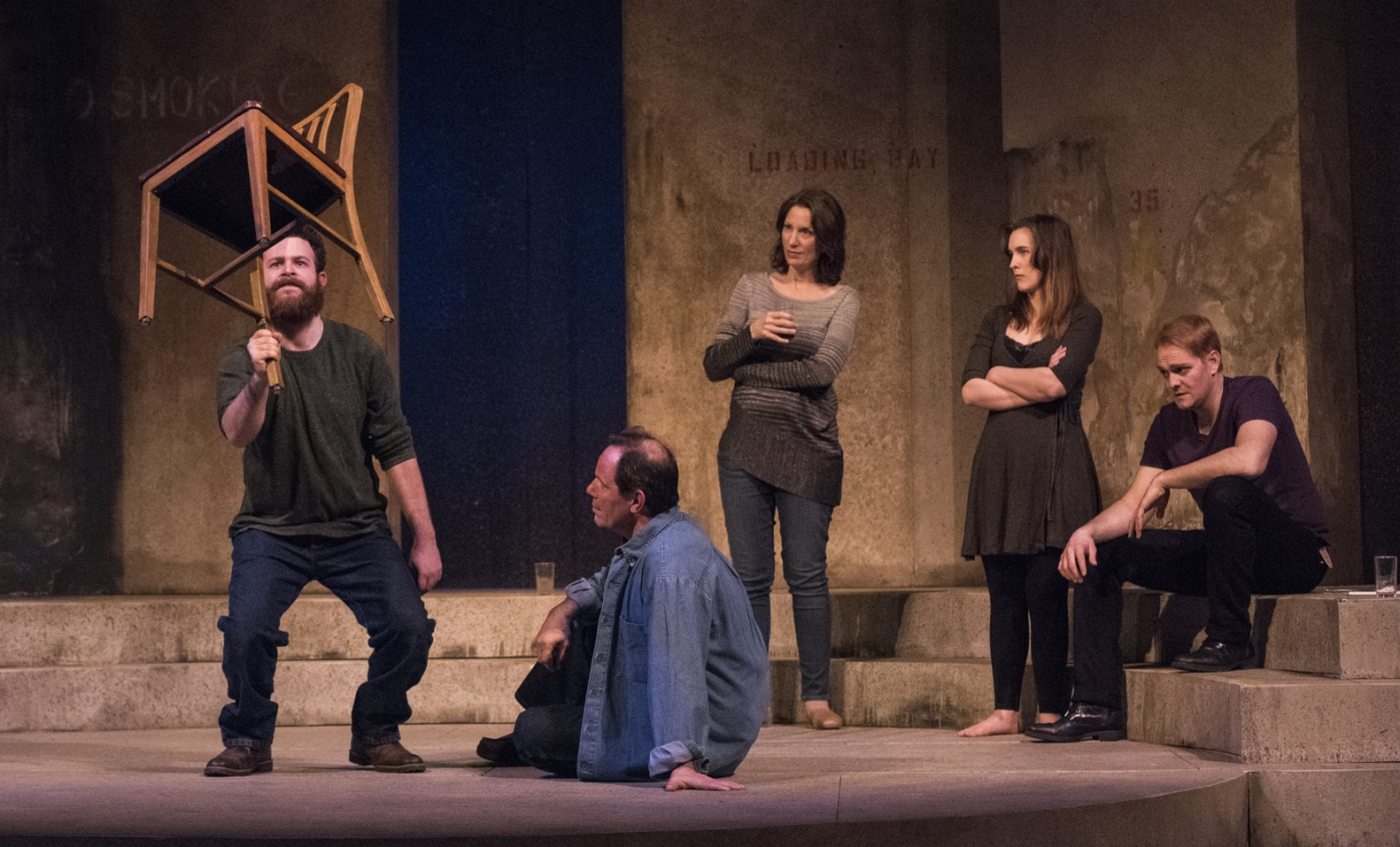 Adam Yellen, left, John Fredo, Debbie Pappas Sham, Renee Landrigan and  Adriano Gato star in 'A View from the Bridge' at Kavinoky Theatre.