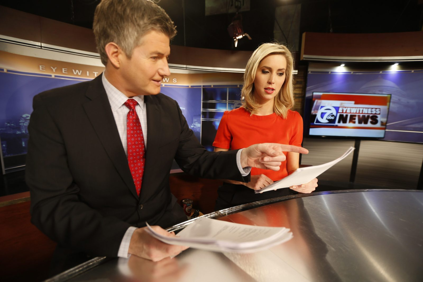 Ashley Rowe and Jeff Russo, who anchor Channel 7's 11 p.m. newscast  (Robert Kirkham/Buffalo News)