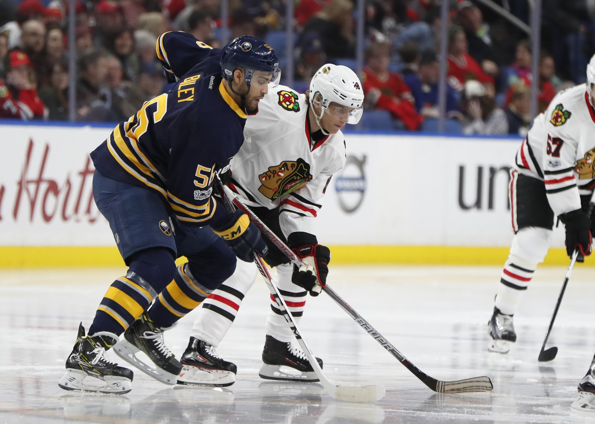 Justin Bailey and the Sabres won't like the highlights of the loss to Patrick Kane and the Blackhawks. (Harry Scull Jr./Buffalo News)