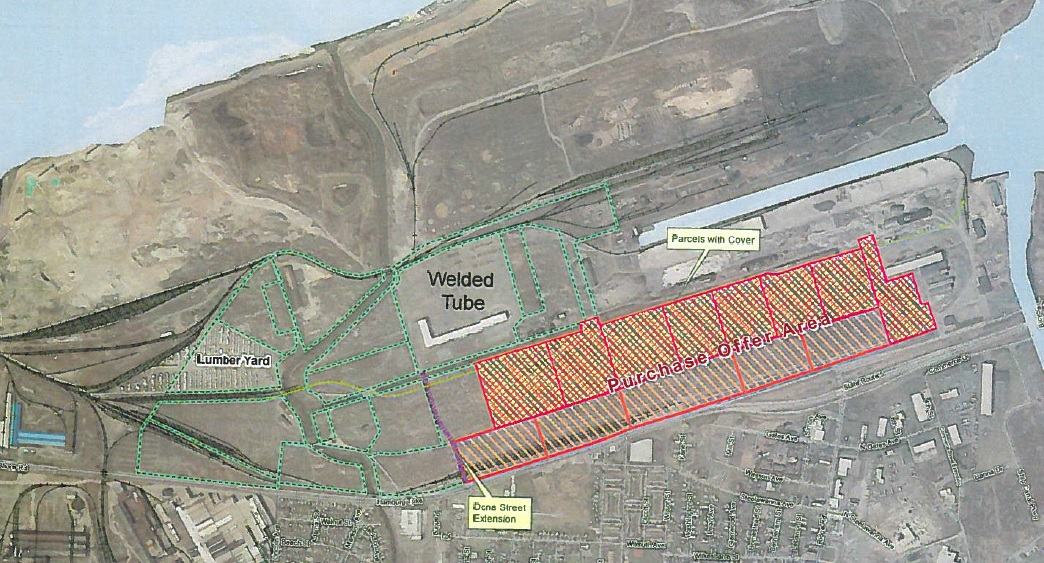 A deal is in place for the Erie County Industrial Development Agency to acquire nearly 148 acres of land along Route 5 from Dona Street to the south and just beyond Ridge Road to the north. (Credit: Erie County)