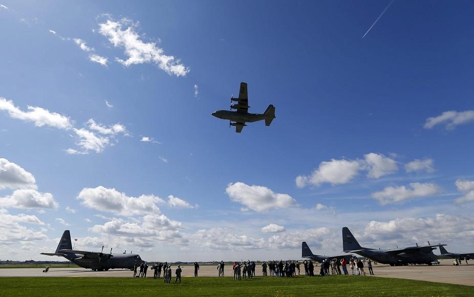 A C-130 flies over the Niagara Falls Air Reserve Station. (Mark Mulville/Buffalo News file photo)