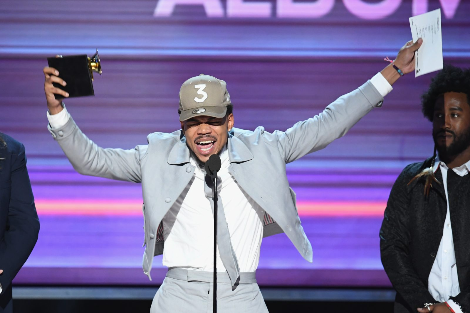 Chance the Rapper accepts the Best Rap Album award for 'Coloring Book' at the 2017 Grammy Awards .  (Getty Images for NARAS)