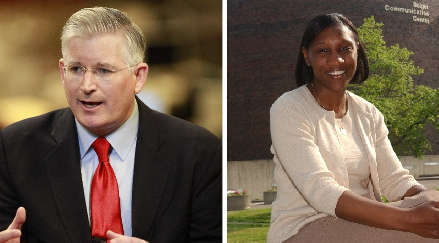 The County Clerk race between Michael P. Kearns and Janique S. Curry could have an impact on Buffalo's mayoral race. (Buffalo News file photos)
