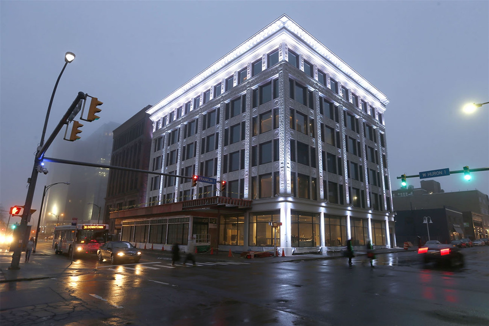 The Curtiss Hotel, a long-vacant former office building, is set to open in April. (Robert Kirkham/Buffalo News)