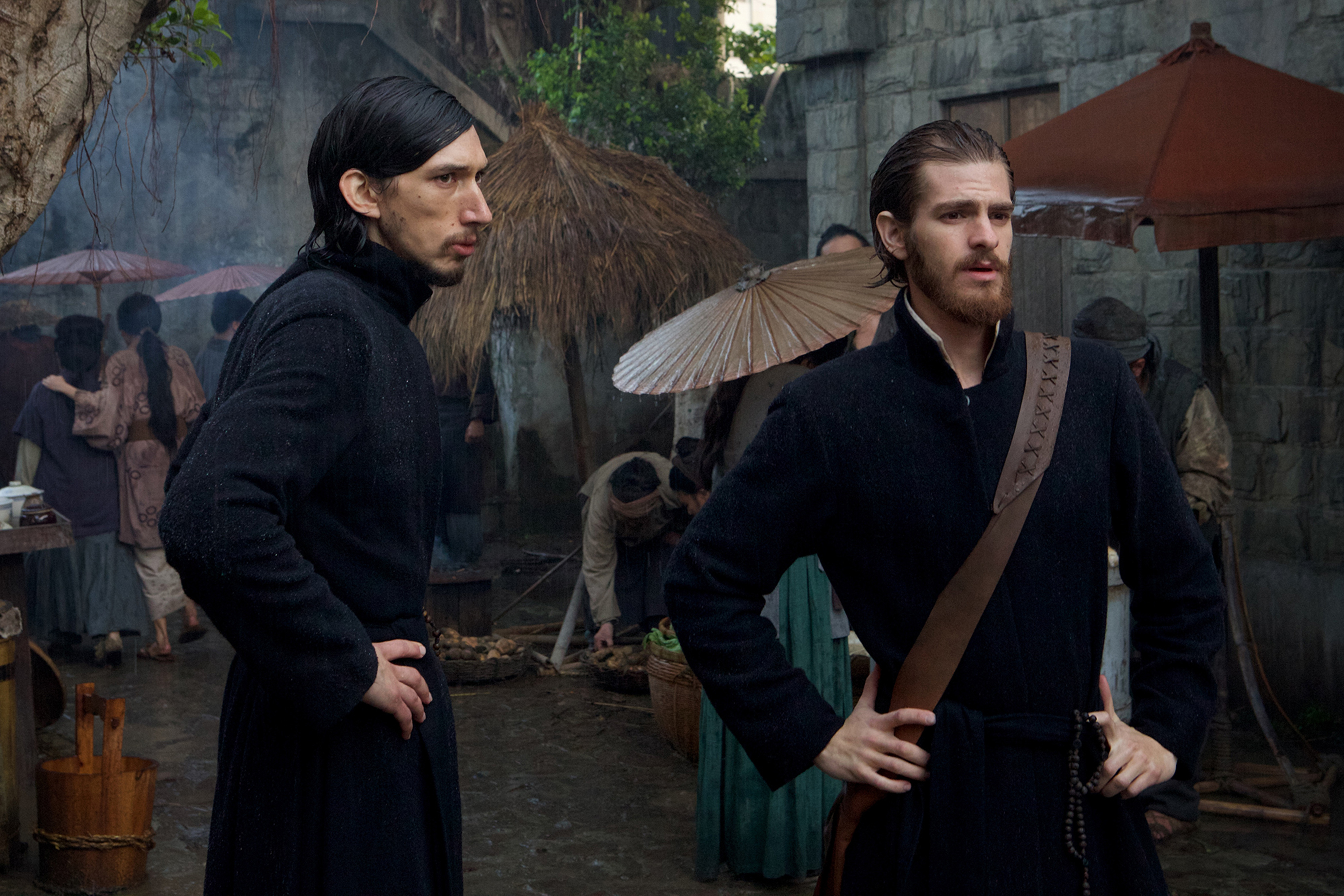 Adam Drive, left, as Father Garupe and Andrew Garfield as Father Sebastião Rodrigues, film the movie 'Silence' by Paramount Pictures, SharpSword Films, and AI Films. MUST CREDIT: Paramount Pictures photo by Kerry Brown