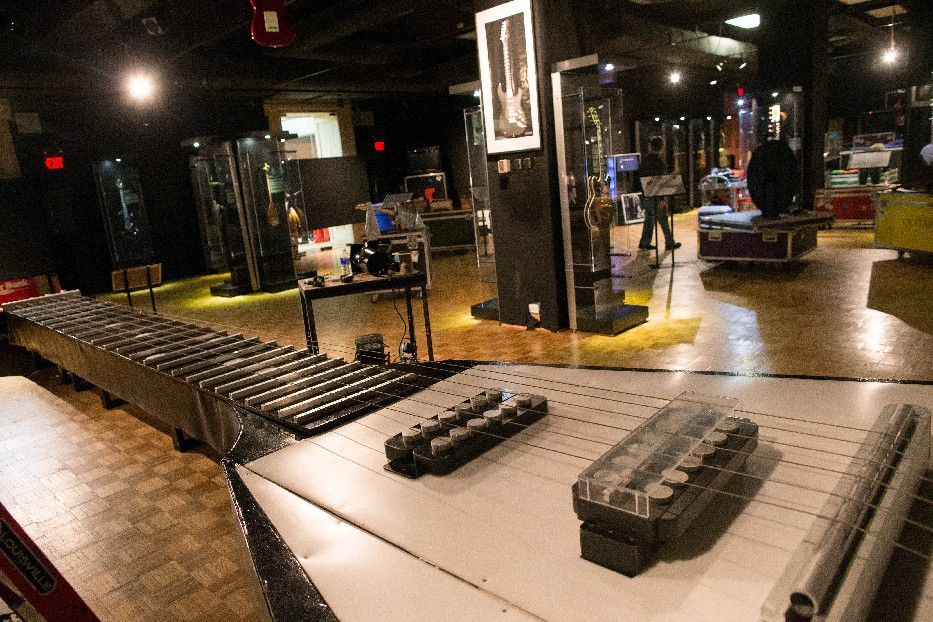 """The traveling exhibit, """"GUITAR: The Instrument That Rocked The World,"""" includes a 47-foot, hands-on guitar. (Derek Gee/Buffalo News)"""