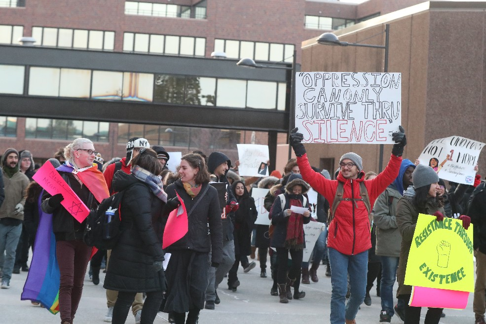 University at Buffalo students earlier this month rally against President Trump's immigration ban, a ban that has immigrants here nervous despite bring put on hold. (James P. McCoy/Buffalo News file photo)