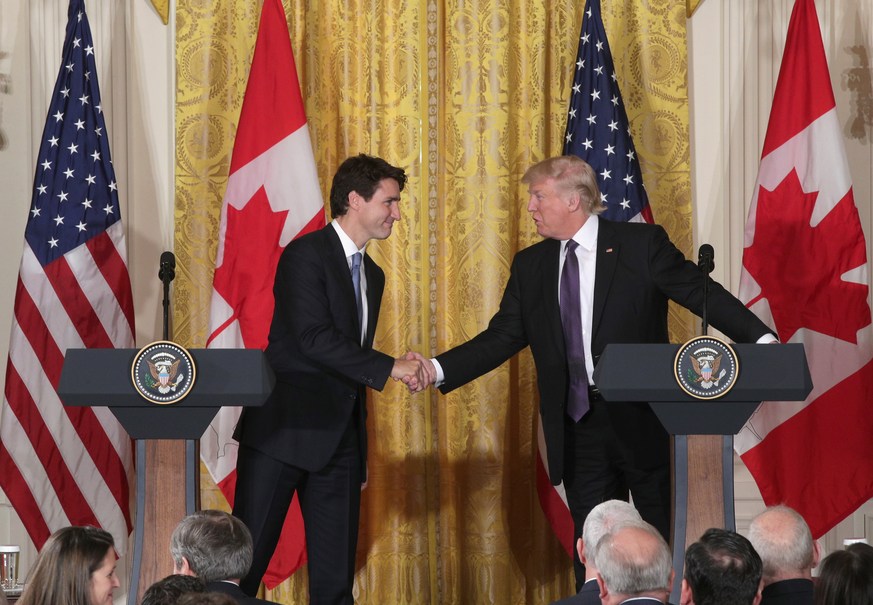 President Donald Trump (R) and Canadian Prime Minister Justin Trudeau participate in a joint news conference in the East Room of the White House on Feb. 13, 2017, in Washington, D.C. (Getty Images)
