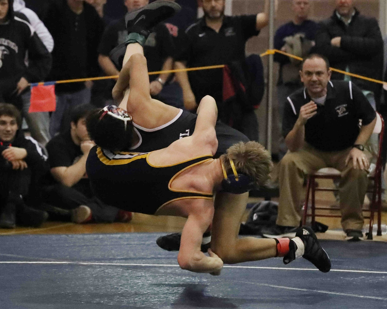 Justin McDougald of Niagara Wheatfield won a close match in the 113-pound class over Mitch Seaver of Lockport, 1-0, to capture his second straight Section VI wrestling title. (James P. McCoy/Buffalo News)