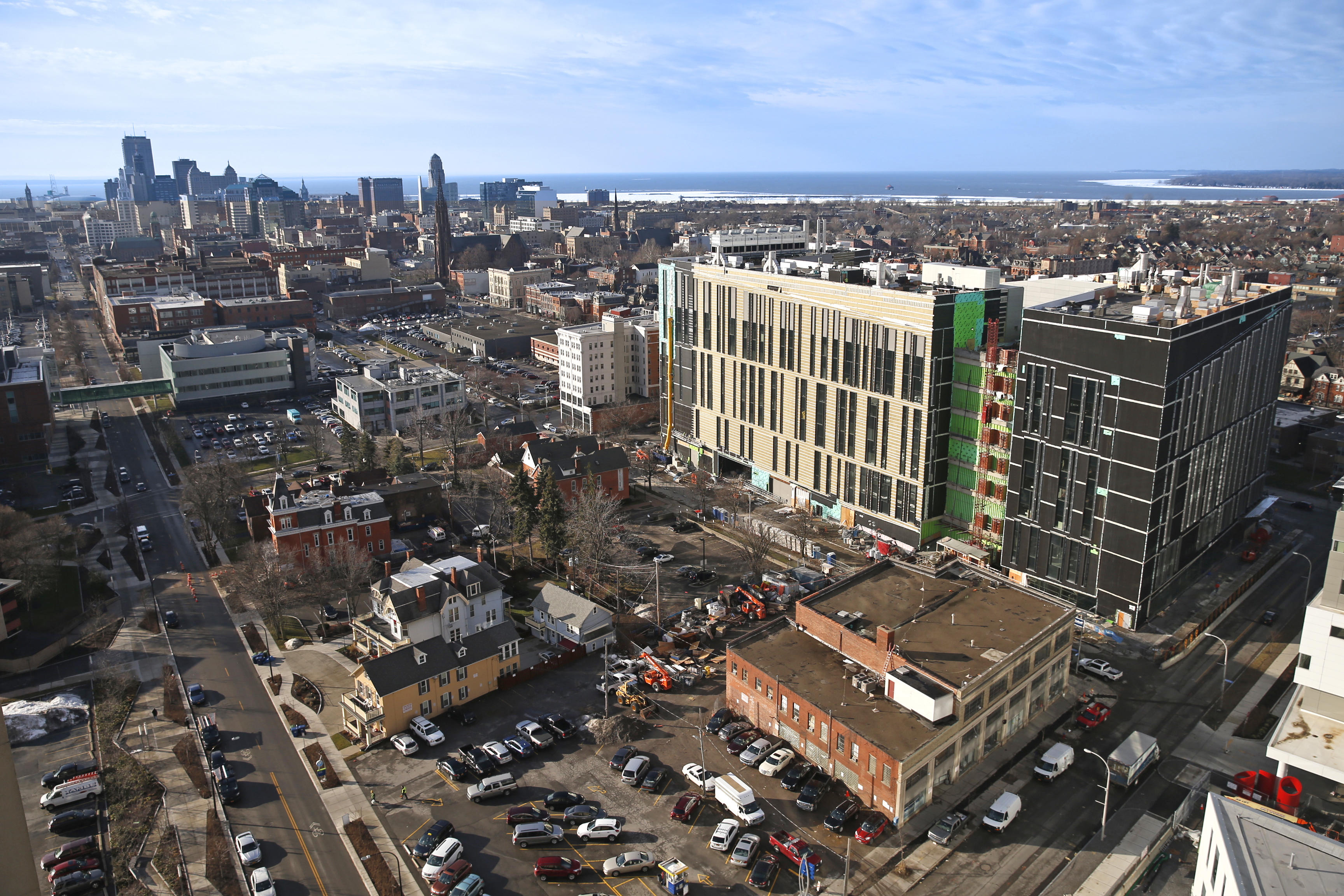 The new site of the UB Jacobs School of Medicine and Biomedical Sciences, shown here in early January, is scheduled to open to faculty later this year. (Robert Kirkham/Buffalo News)