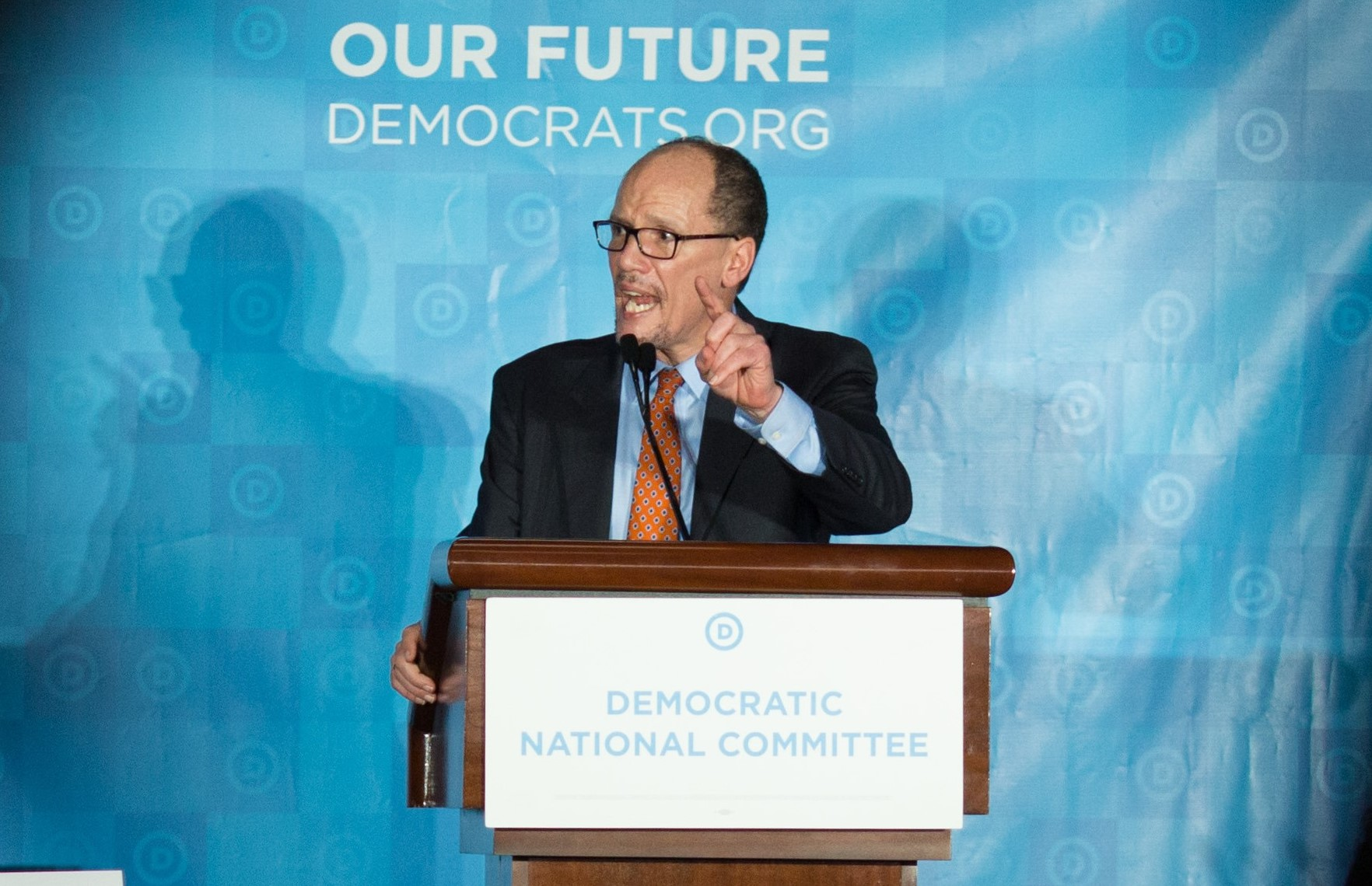 Thomas Perez, the former labor secretary, addresses the Democratic National Committee's winter meeting after being elected the DNC's new chairman in Atlanta on Feb. 25, 2017. Perez asked Rep. Keith Ellison of Minnesota, whom he narrowly beat in a run-off vote, to serve as the new deputy chairman.  (New York Times)