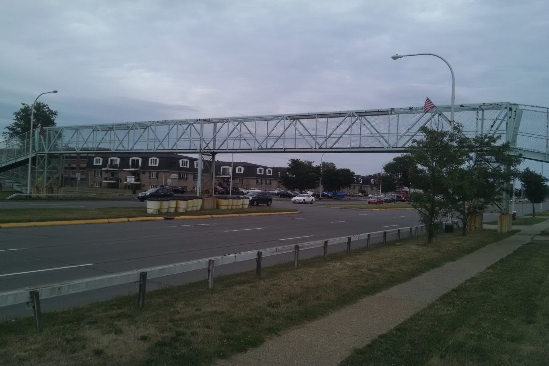 The Sheridan Drive pedestrian bridge has been closed due to deterioration.