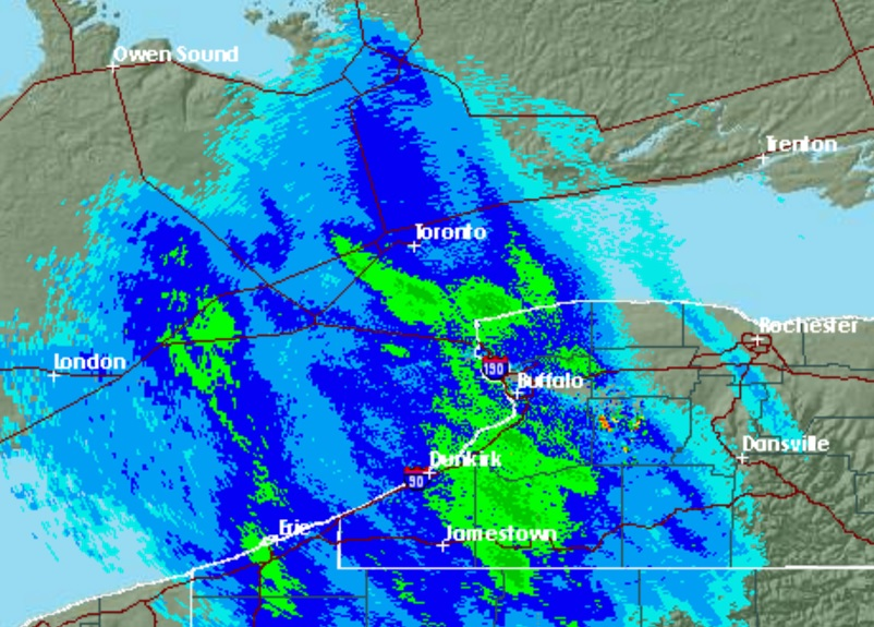 Snow hit the Buffalo Niagara region shortly before 3 p.m.  (National Weather Service)