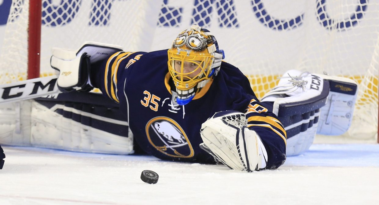 Sabres goalie Linus Ullmark has a 9-1-3 record and is second in the NHL in points percentage for backup goalies at .808 (21 of 26 points). (Harry Scull Jr./News file photo)