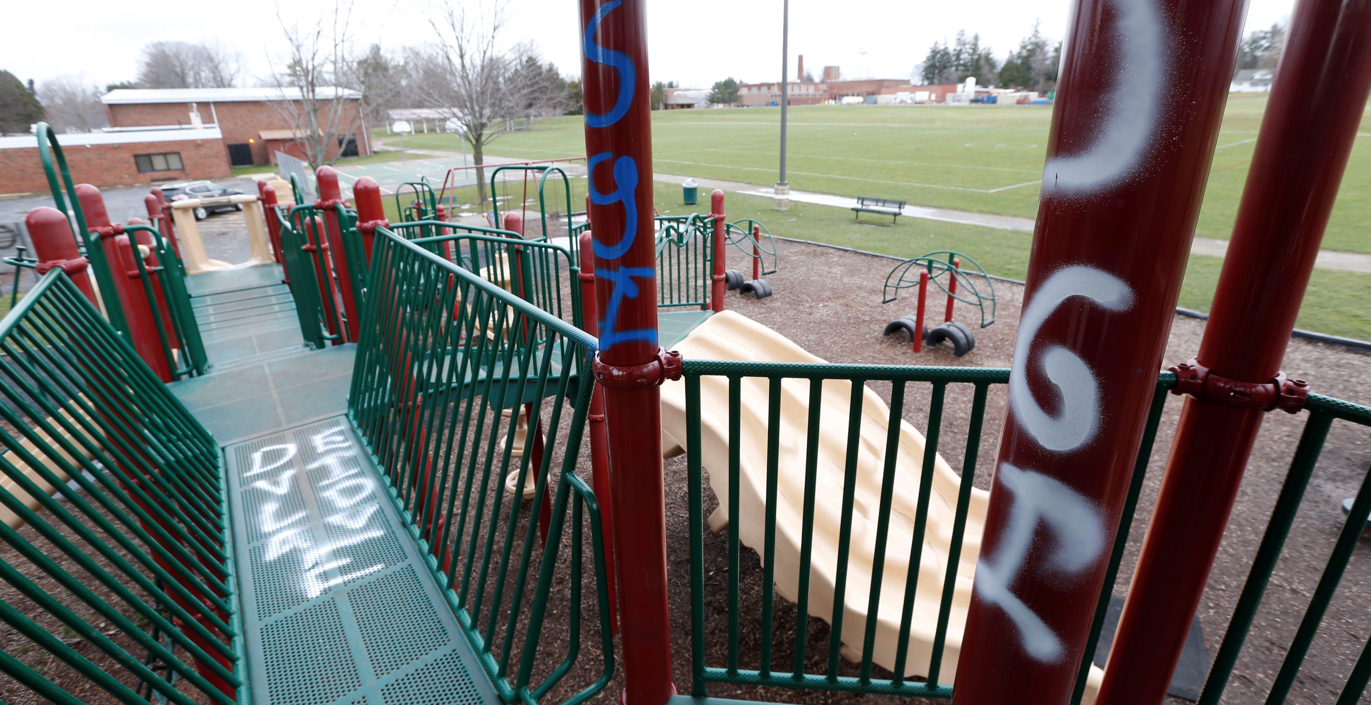 Vandalism is seen on the playground at South Davis Elementary School in Orchard Park.  (Robert Kirkham/Buffalo News)