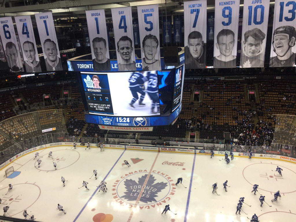 The Sabres and Leafs warm up in Air Canada Centre (Mike Harrington/Buffalo News).