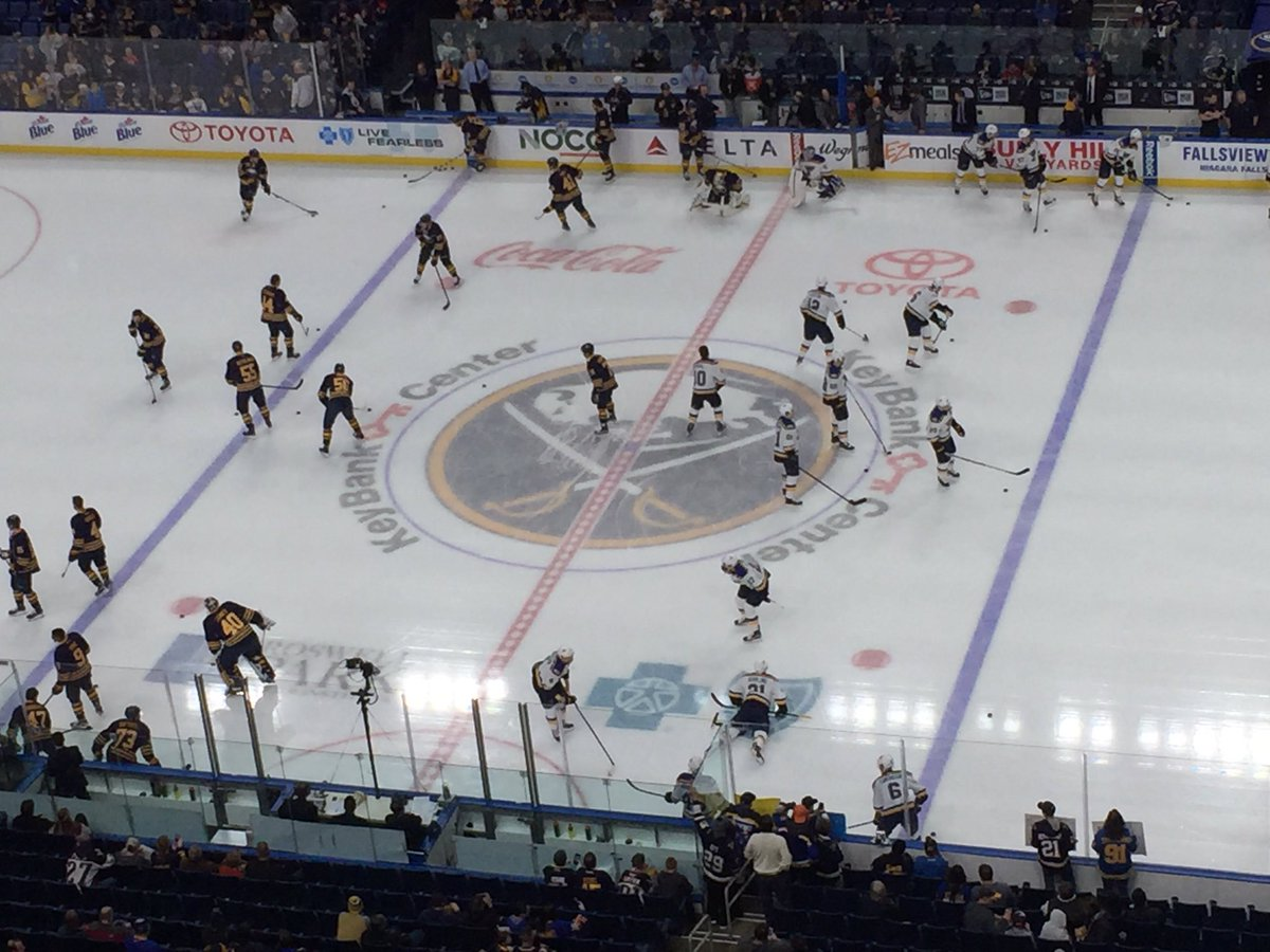 The Sabres and St. Louis Blues warm up in KeyBank Center (Mike Harrington/Buffalo News).