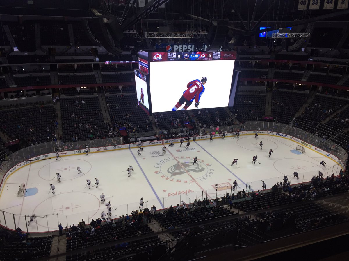 The Sabres and Avalanche warm up in Denver's Pepsi Center (Mike Harrington/Buffalo News).