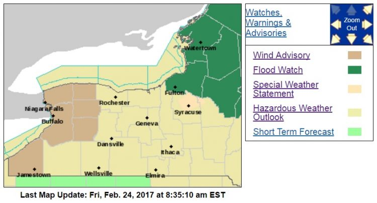 A wind advisory is posted for Erie, Niagara, Orleans, Genesee and Chautauqua counties Saturday. (National Weather Service)