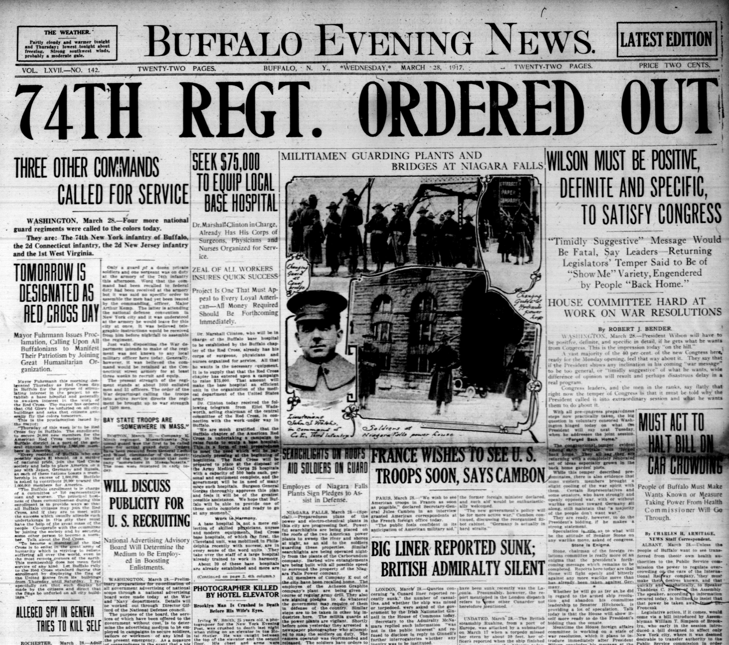 Front page, March 28, 1917: Man crushed to death by elevator