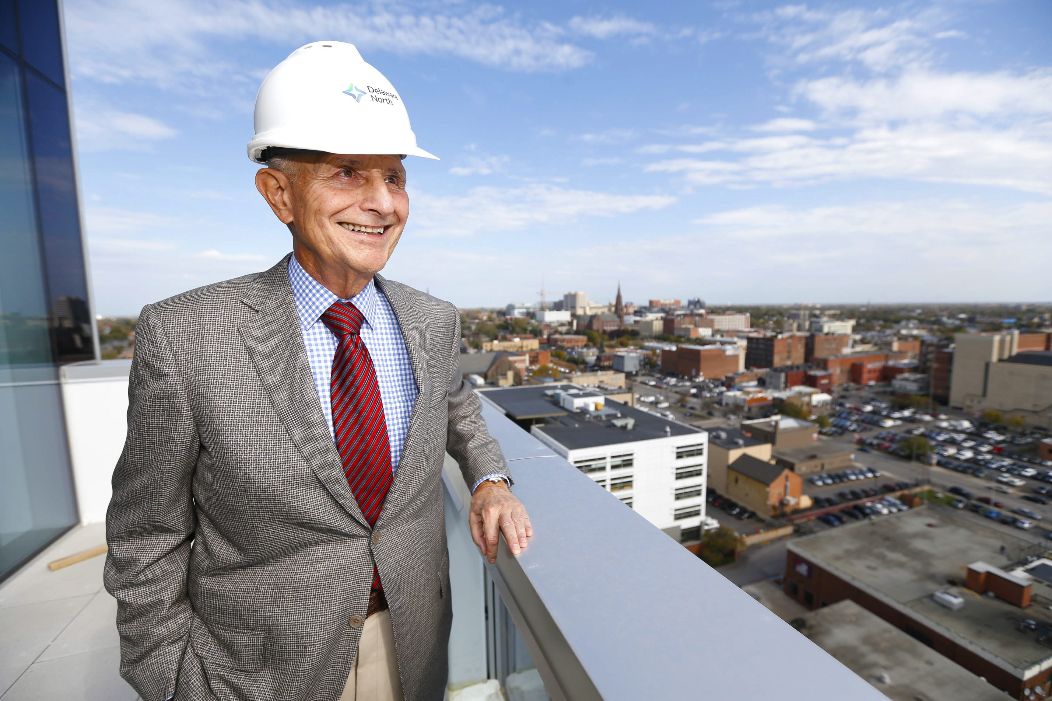 Delaware North Chairman Jeremy Jacobs Sr. tours the site of the new Delaware North building in Buffalo in October 2015.  (Robert Kirkham/Buffalo News file photo)