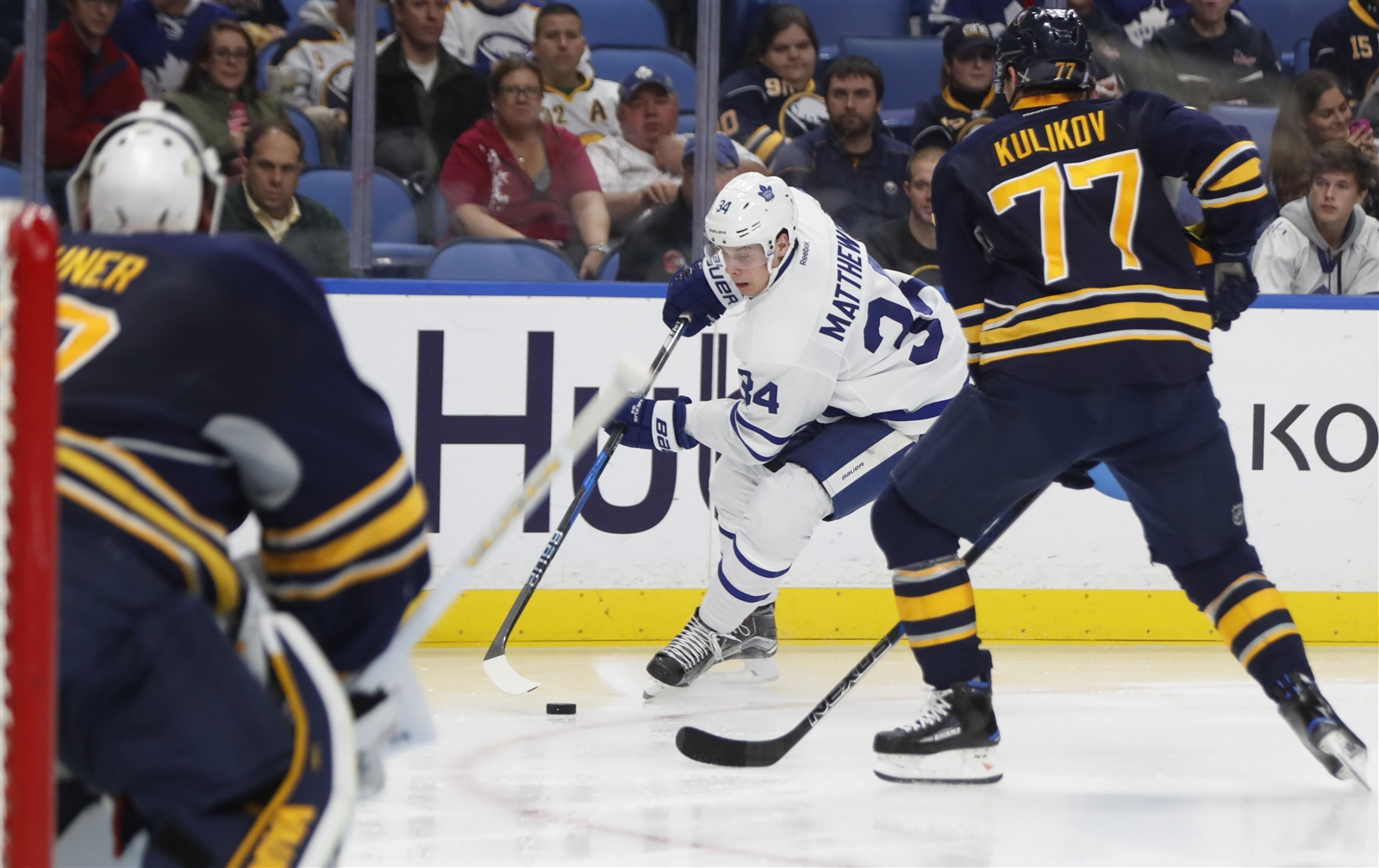 Dmitry Kulikov will return from injury to face Auston Matthews and the Maple Leafs. (Harry Scull Jr./Buffalo News)