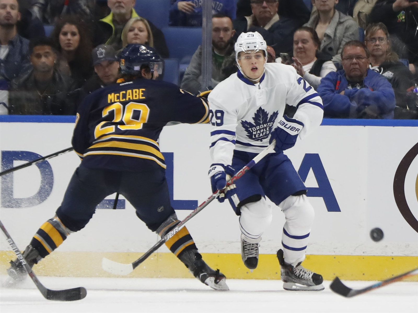 Toronto's William Nylander will look to continue his scoring surge against Jake McCabe and Buffalo. (Harry Scull Jr./Buffalo News)