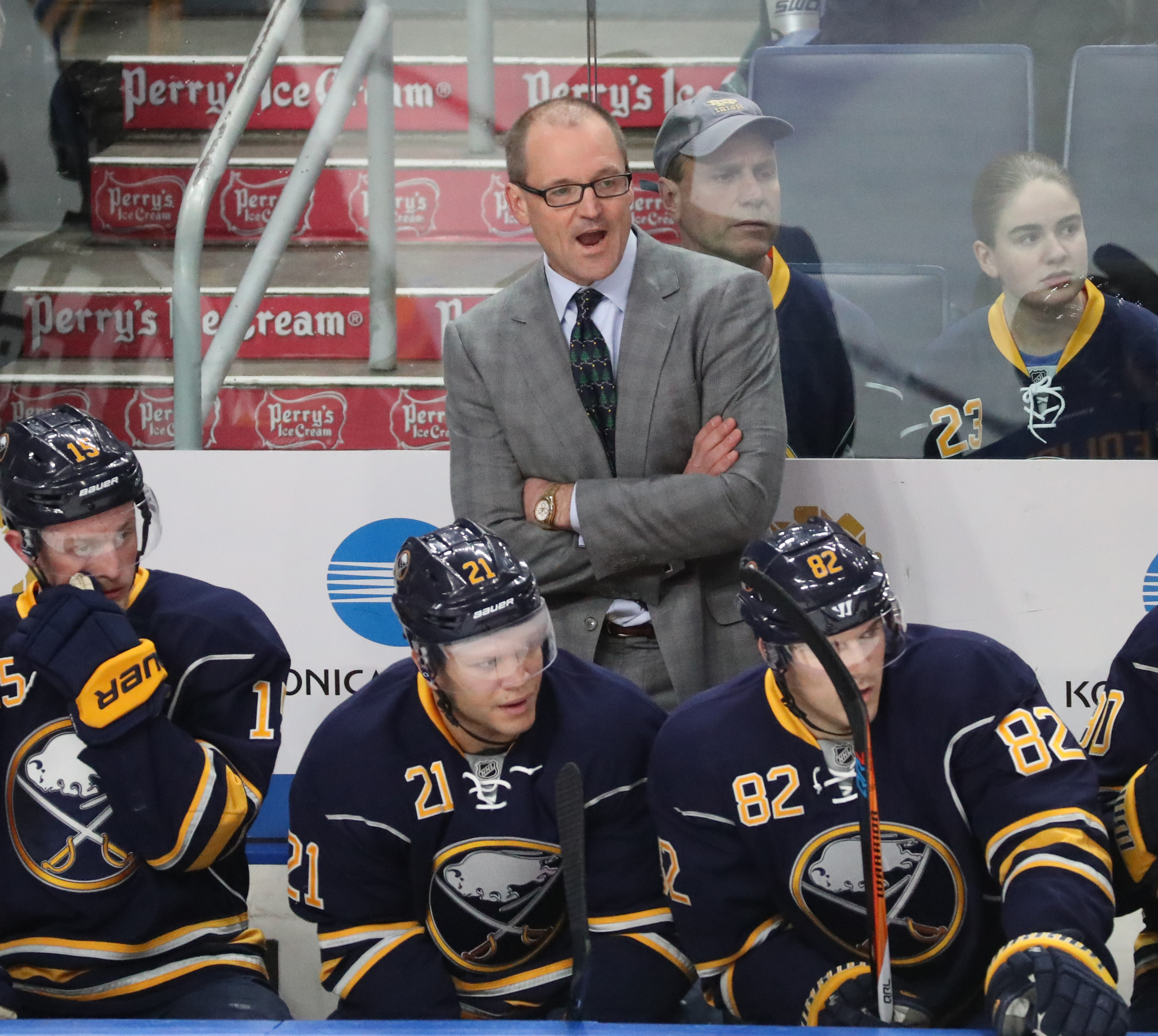 Sabres coach Dan Bylsma should be on firmer ground than Bills GM Doug Whaley. (James P. McCoy/Buffalo News)
