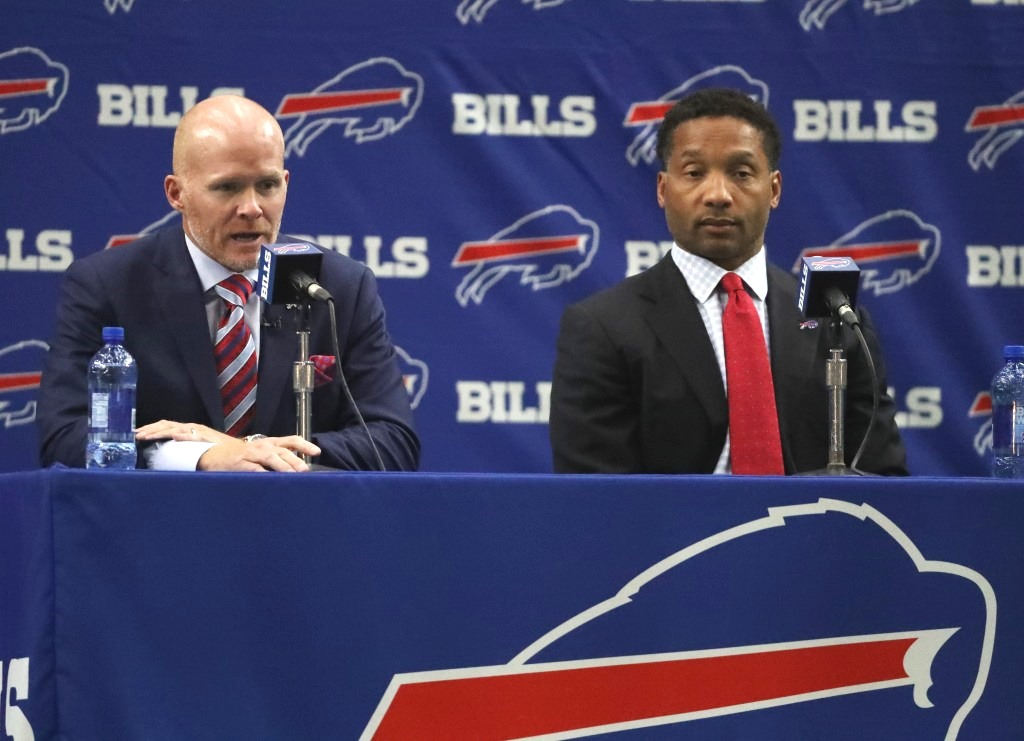 "Bills coach Sean McDermott, not General Manager Doug Whaley, has served as the ""one voice"" for every decision the team has made, including the drawn-out process that led quarterback Tyrod Taylor being brought back. (James P. McCoy/News file photo)"