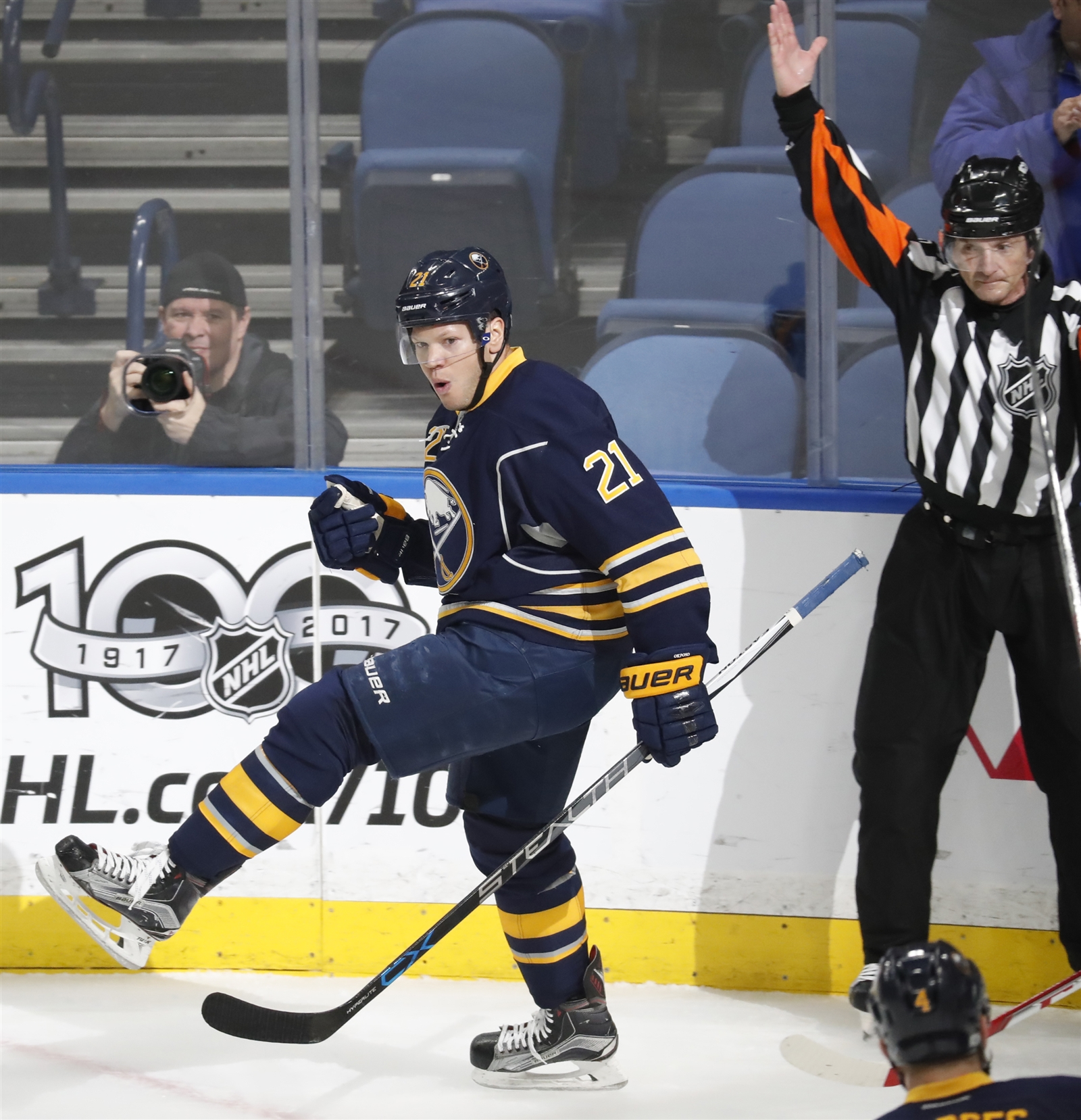 A rib injury could keep Kyle Okposo out of the Sabres' lineup for several weeks. (Harry Scull Jr./Buffalo News)