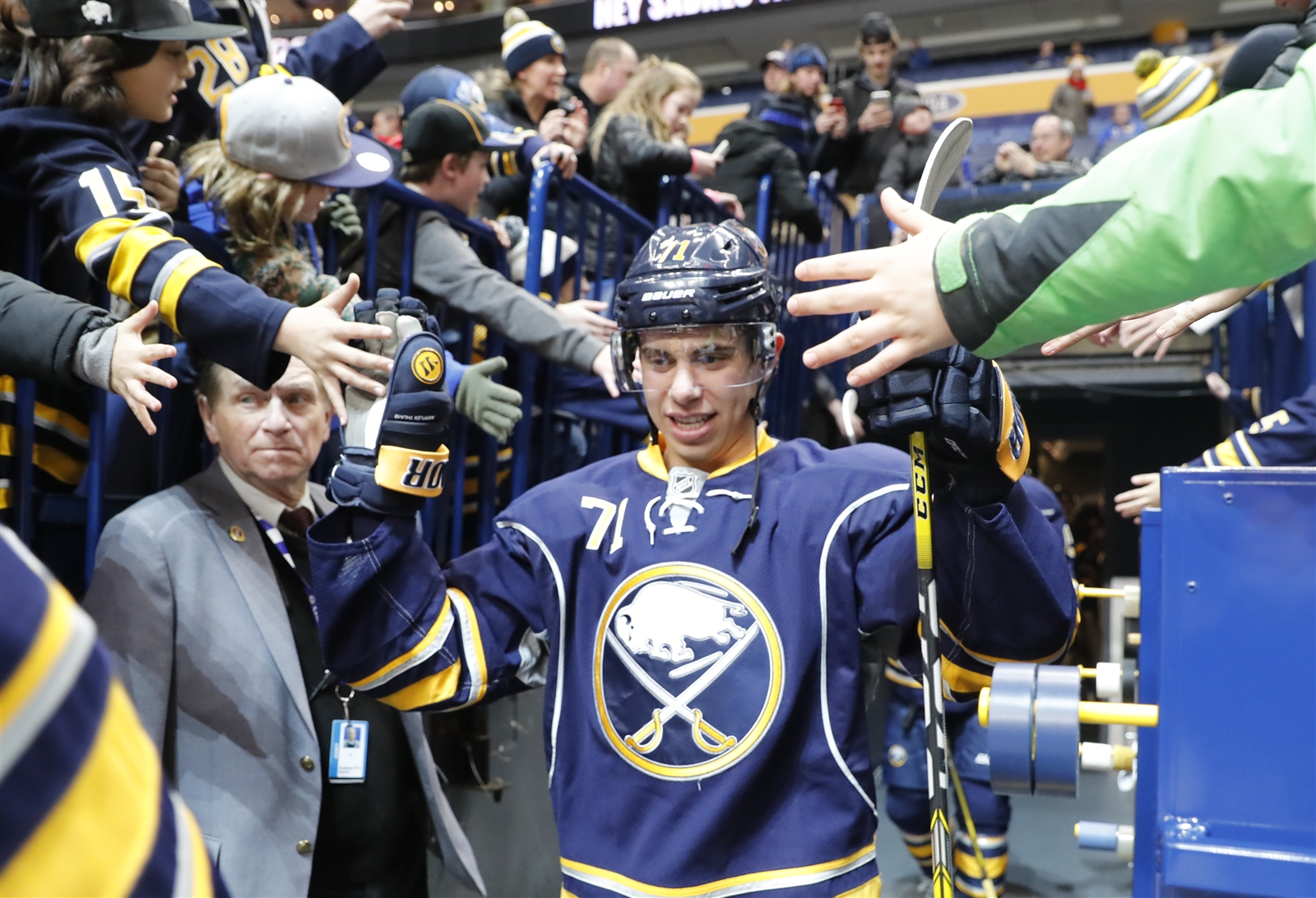 Fans can win the jersey of Evan Rodrigues and other Sabres after the April 5 home finale. (Harry Scull Jr./Buffalo News)
