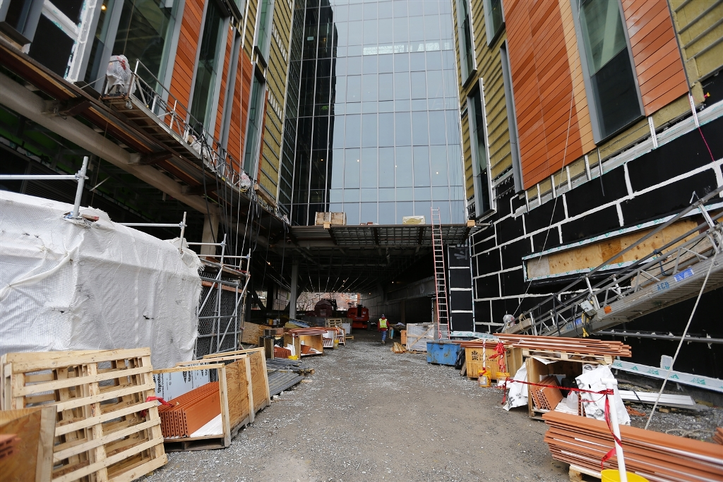 A path for pedestrians and bicycles, shown here during an earlier phase of construction, will run underneath the new medical school on the Buffalo Niagara Medical Campus.(Mark Mulville/Buffalo News file photo)