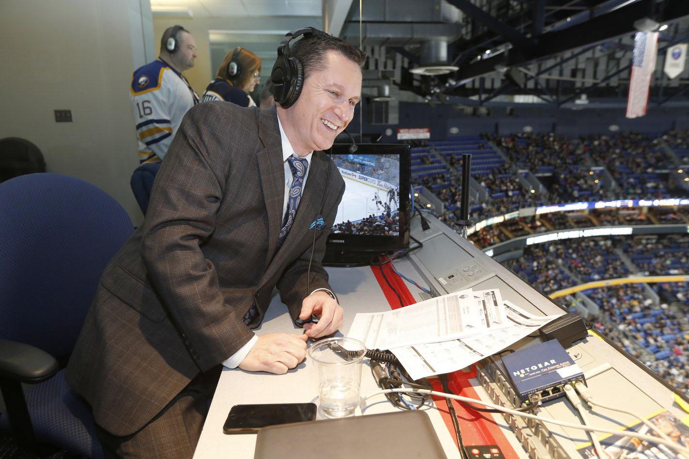 Sabres announcer Dan Dunleavy in the press box. (Robert Kirkham/News file photo)