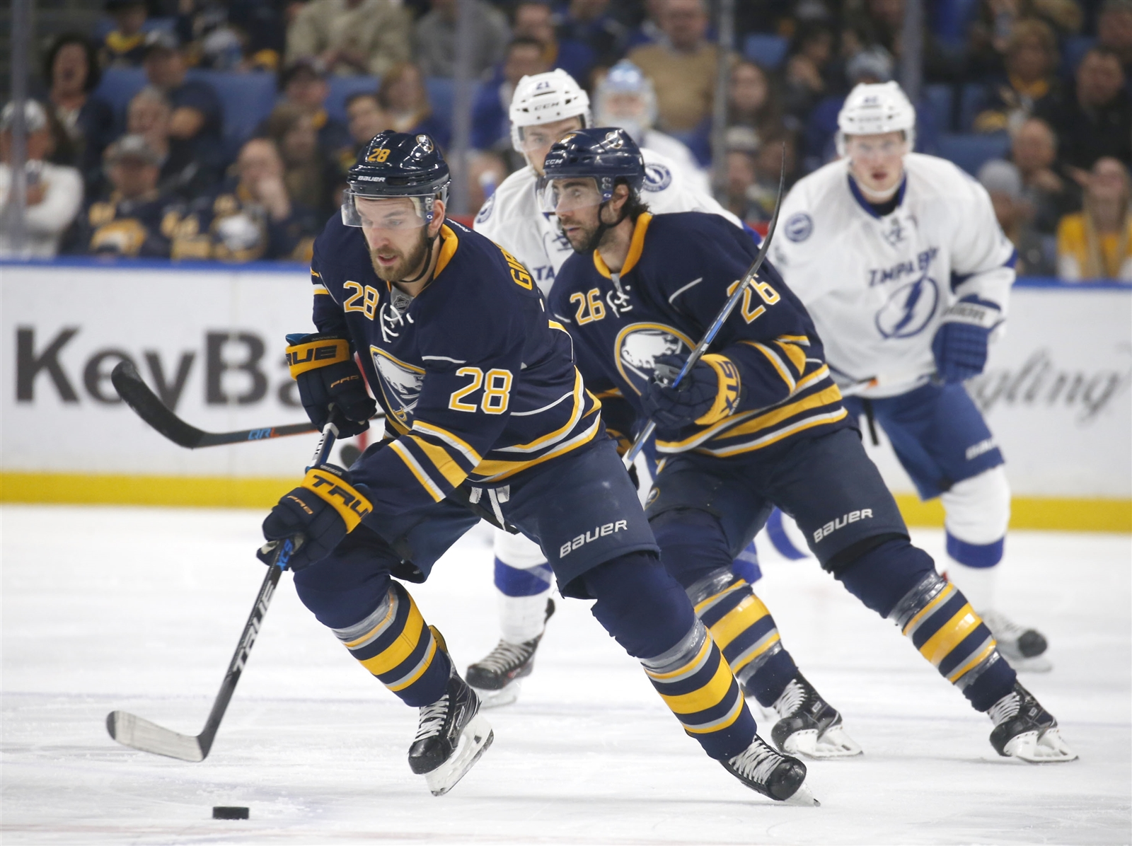 Zemgus Girgensons (28), Matt Moulson and the Sabres have major second-period woes. (Robert Kirkham/Buffalo News)